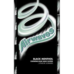 Airwaves Airwaves Chewing-gums Black Menthol sans sucres les 5 paquets de 14 g