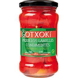 Gotxoki Piquillos lamelles condimentés le bocal de 220 g net égoutté