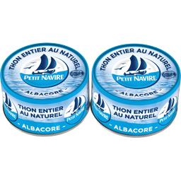 Thon albacore au naturel démarche responsable PETIT NAVIRE boîtes 2x1/6 93g