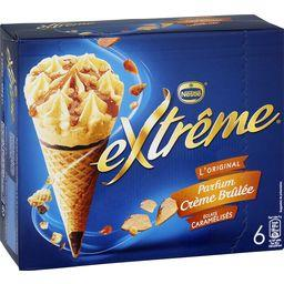 Nestlé Extrême L'Original - Cônes parfum crème brûlée éclats caramélisés la boite de 6 - 426 g