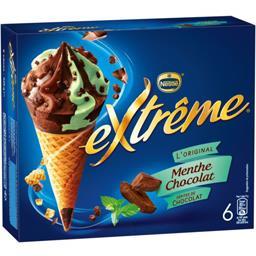 Nestlé Extrême L'Original - Cônes menthe chocolat pépites de chocolat la boite de 6 - 426 g