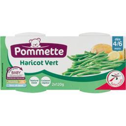 Purée de haricot vert, dès 4-6 mois,POMMETTE,les 2 pots de 120g