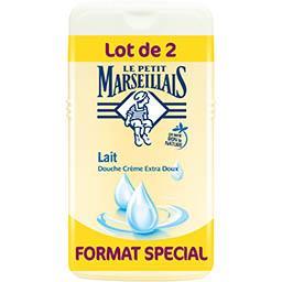Le Petit Marseillais Le Petit Marseillais Douche crème extra doux lait le lot de 2 flacons de 250 ml - Format spécial