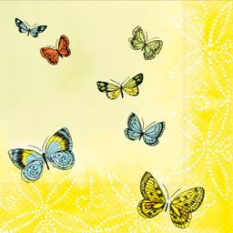 Serviettes 3 plis 33x33 cm Papillons