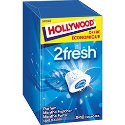 Hollywood Hollywood Chewing-gum 2 Fresh menthe fraîche/menthe forte sans sucres les 3 boites de 22 g - Offre Economique