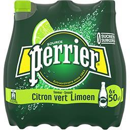 Perrier Perrier Eau gazeuse saveur citron vert sans sucres les 6 bouteilles de 50 cl