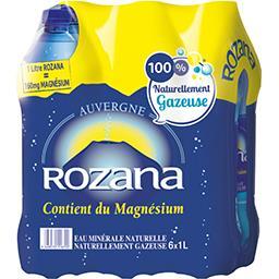 Rozana Rozana Eau minérale naturelle gazeuse le pack de 6 bouteilles de 1L - 6L