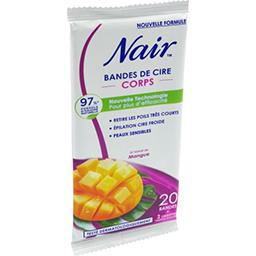 Nair Nair Bandes de cire froide épilation jambes à l'extrait de mangue le paquet de 20