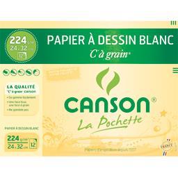 Papier à dessin blanc C à grain 24x32cm 224g