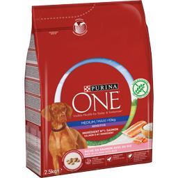 Purina One - Croquettes Sensitive au saumon pour chien Medi... le sac de 2,5 kg