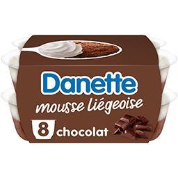 Danone Danone Danette - Dessert Mousse Liégeoise chocolat les 8 pots de 80 g