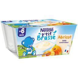 Nestlé Nestlé Bébé P'tit Brassé - Dessert abricot, 6+ mois les 4 pots de 100 g