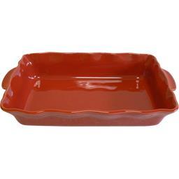Plat rectangle festonné 41 cm rouge