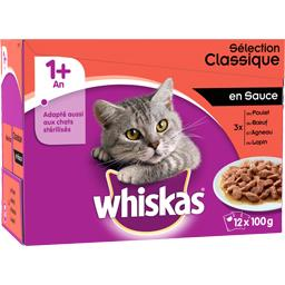 Whiskas Whiskas Pâtée pour chat 1+ an en sauce aux viandes les 12 sachets de 100 g