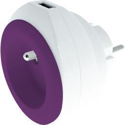 Chargeur USB 2,4 A + 16 A + câble coloris blanc/violet