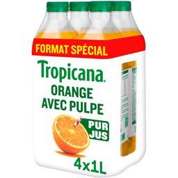 Tropicana Tropicana Pure Premium - Jus d'orange avec pulpe les 4 bouteilles de 1 l