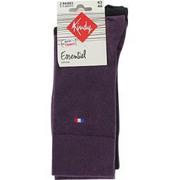 Chaussettes Essentiel coton 43-46 violet/noir