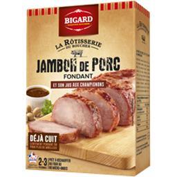 Jambon de porc cuit et son jus aux champignons
