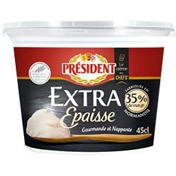 Président Crème fraîche extra épaisse gourmande et nappante le pot de 45 cl