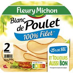 Fleury Michon Fleury Michon Blanc de poulet réduit en sel la barquette de 2 tranches - 80 g