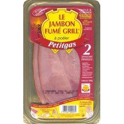 Le jambon fumé grill à poêler, cuit choix, qualité maison, La barquette de 2 tranches, 200g