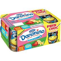 danonino superdino saveur vanille - fraise - banane gervais 90gx6