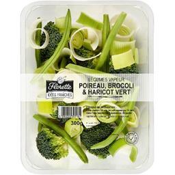 Légumes vapeur poireau, brocolis & haricot vert