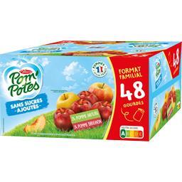 Materne Materne Pom'Potes - Spécialités de pomme nature / pomme brugnon les 48 gourdes de 90 g - Format Familial