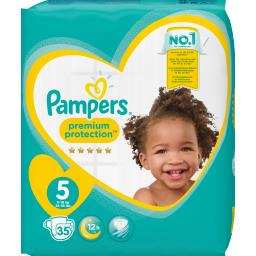 Pampers Pampers Couches premium protection taille 5, 11kg-16kg Le paquet de 35