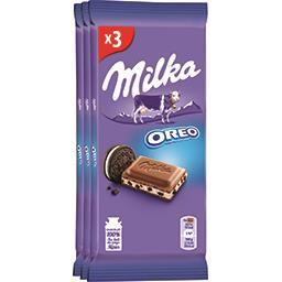 Milka Milka Chocolat au lait fourré Oreo les 3 tablettes de 100 g