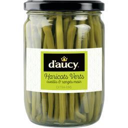 D'aucy D'aucy Haricots verts cueillis & rangés main extra-fins le bocal de 280 g net égoutté