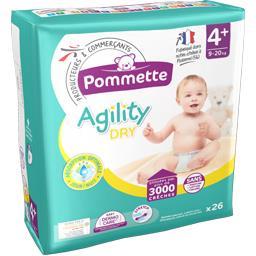 Couches Agility Dry, taille 4+ : 9-20 kg,POMMETTE,le paquet de 26