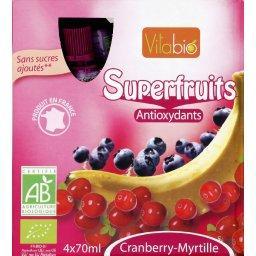 Superfruits cranberry banane myrtille BIO,VITABIO,le lot de 4 bouteille de 70 ml soit 280 ml