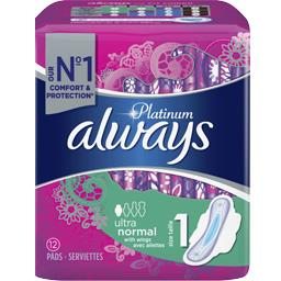 Always Always Serviette hygiéniques Ultra normal T1 le paquet de 12