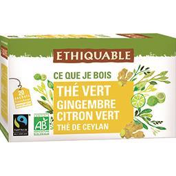 Ethiquable Thé vert de Ceylan gingembre citron vert BIO