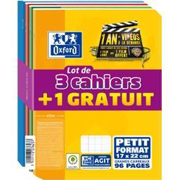 Lot de 3 + 1 offert cahiers, piqûres 170 x 220, 96p, Seyes
