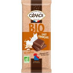 Cémoi Cémoi Chocolat lait français riz soufflé BIO la tablette de 100 g