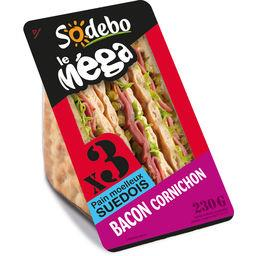 Le Méga - Sandwich pain moelleux Suédois bacon corni...