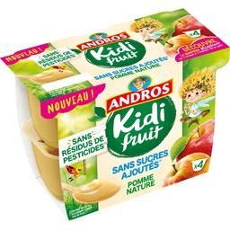 Andros Andros Kidi Fruit - Spécialité de pomme nature les 4 pots de 85 g