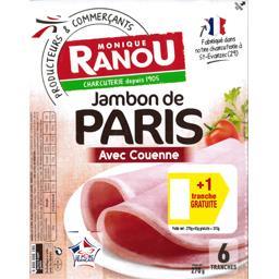 Monique Ranou Jambon avec couenne la barquette de 6 tranches - 315 g