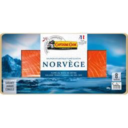 Saumon fumé de Norvège, salé au sel sec et fumé au b...