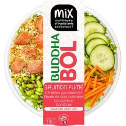 Salade Buddha Bol saumon fumé céréales soja concombr...
