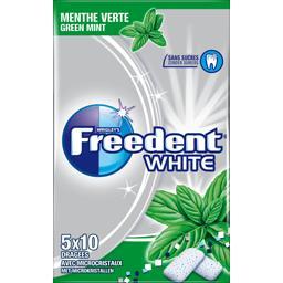 Freedent Freedent White - Chewing-gum menthe verte sans sucres les 5 paquets de 10 dragées - 70 g
