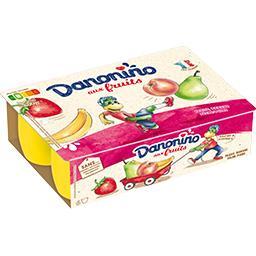 Danonino - Fromage blanc fraise, pêche/poire, banane