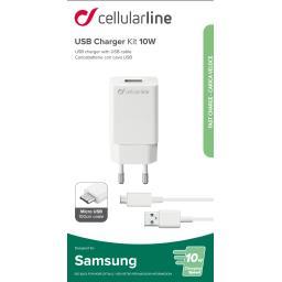 Kit chargeur secteur Samsung USB 10W + câble micro USB noir