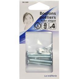 Boulon poêliers acier zingué 6mm 40mm