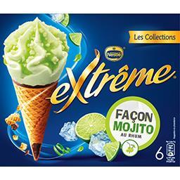 Nestlé Extrême Extrême - Glaces façon mojito au rhum la boite de 6 cônes - 426g