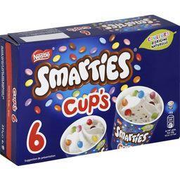 Smarties Smarties Cup's - Glace vanille bonbons chocolat lait dragéifiés la boite de 6 pots - 231 g