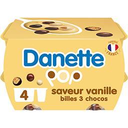 Danette - Crème dessert saveur vanille billes 3 chocos