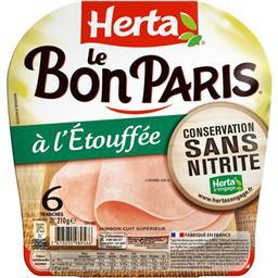 Herta Herta Le Bon Paris - Jambon à l'étouffée la barquette de 6 tranches - 210 g